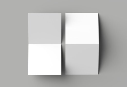 Bi fold square brochure or invitation mock up isolated on gray background.