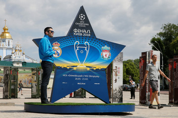 An installation with the logo of the UEFA Champions League final is on display in central Kiev
