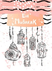 Eid Mubarak lettering,hand draw abstract greeting background