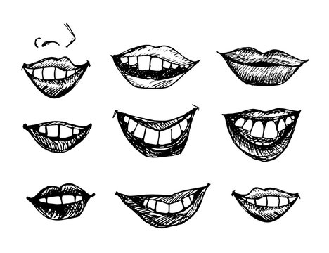 Hand drawn smiling lips