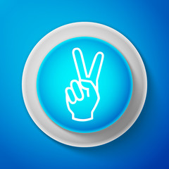 White Hand showing two finger icon isolated on blue background. Victory hand sign. Circle blue button with white line. Vector Illustration