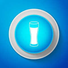 White Glass of beer icon isolated on blue background. Circle blue button with white line. Vector Illustration