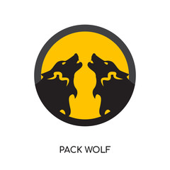 pack wolf logo isolated on white background , colorful vector icon, brand sign & symbol for your business