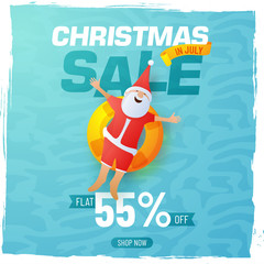 Christmas sale poster, banner or flyer design with happy Santa Claus and flat 55% off offers on blue background.