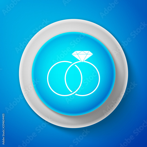 White Wedding Rings Icon Isolated On Blue Background Bride And