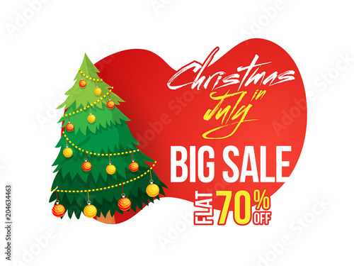 Christmas in July flat 70 off banner poster or flyer design with