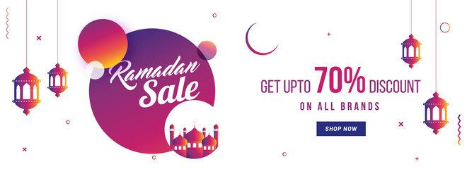 Ramadan sale, website header or banner design with hanging lanterns, mosque and upto 70% off offers.