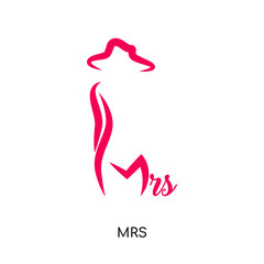 mrs logo isolated on white background , colorful vector icon, brand sign & symbol for your business