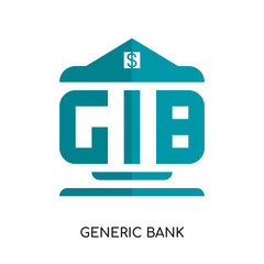 generic bank logo isolated on white background , colorful vector icon, brand sign & symbol for your business