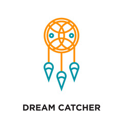 dream catcher logo isolated on white background , colorful vector icon, brand sign & symbol for your business