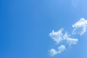 Blue sky background with tiny white clouds.