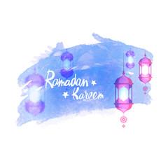 Beautiful Ramadan Kareem background with hanging lantern and stylish text on blue brush stroke background.