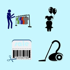 icons about Human with clothes, clean, barcode, ballons and store