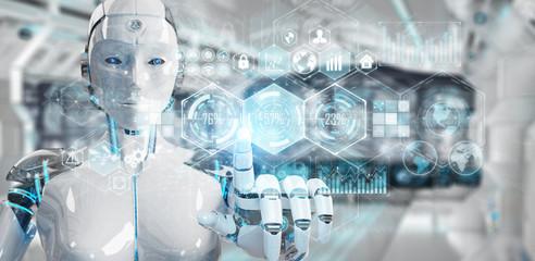 White woman cyborg using digital datas interface 3D rendering