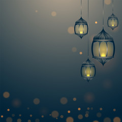Hanging illuminated lanterns and space for your message.