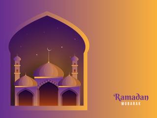 Ramadan mubarak celebration banner or poster design with mosque.