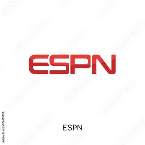 Espn Logo White Isolated On White Background Colorful Vector Icon