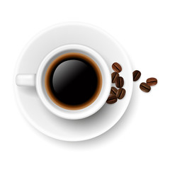 Vector realistic ceramic coffee cup on a plate with hot coffee and coffee beans isolated on white background