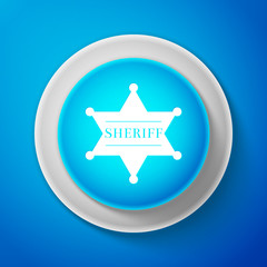 White Hexagonal sheriff star icon isolated on blue background. Sheriff badge symbol. Circle blue button with white line. Vector Illustration