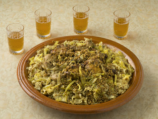 Traditional Moroccan Rfissa and tea