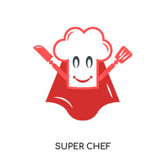 super chef logo isolated on white background , colorful vector icon, brand sign & symbol for your business