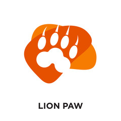 lion paw logo isolated on white background , colorful vector icon, brand sign & symbol for your business