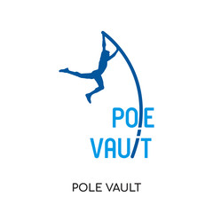 pole vault logo isolated on white background , colorful vector icon, brand sign & symbol for your business