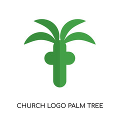 church logo palm tree isolated on white background , colorful vector icon, brand sign & symbol for your business