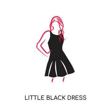 little black dress logo isolated on white background , colorful vector icon, brand sign & symbol for your business