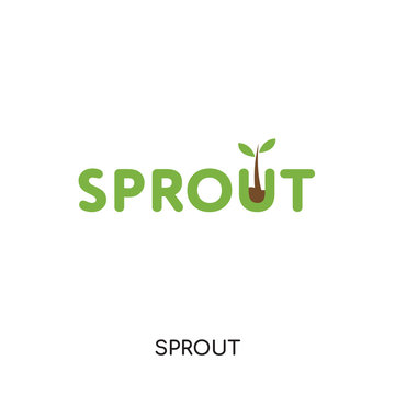 sprout logo isolated on white background , colorful brand sign & symbol for your business
