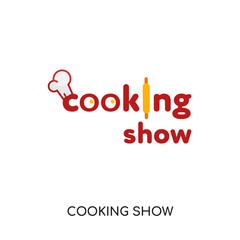 cooking show logo isolated on white background , colorful vector icon, brand sign & symbol for your business