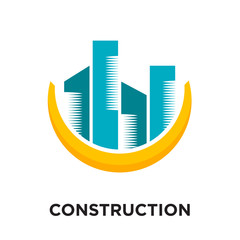 construction logo free isolated on white background , colorful vector icon, brand sign & symbol for your business