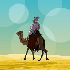 cartoon man riding a camel in the desert