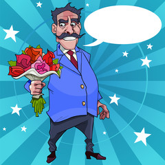 cartoon man with a mustache wishes with flowers in their hands