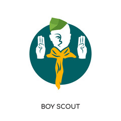 boy scout logo images isolated on white background , colorful vector icon, brand sign & symbol for your business