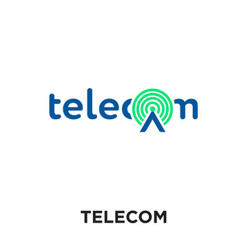 logo telecom isolated on white background , colorful vector icon, brand sign & symbol for your business
