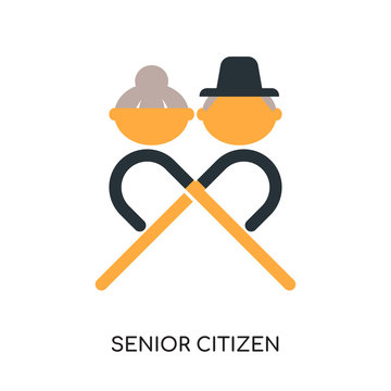 senior citizen logo isolated on white background , colorful vector icon, flat sign and symbol
