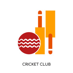 cricket club logo isolated on white background , colorful vector icon, brand sign & symbol for your business