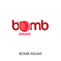 bomb squad logo isolated on white background , colorful vector icon, brand sign & symbol for your business