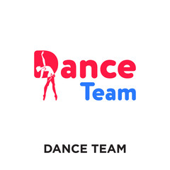 dance team logo isolated on white background , colorful vector icon, brand sign & symbol for your business