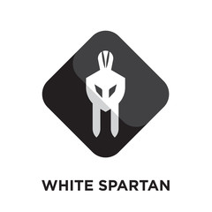 white spartan logo isolated on white background , colorful vector icon, brand sign & symbol for your business