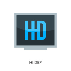 hi def logo isolated on white background , colorful vector icon, brand sign & symbol for your business