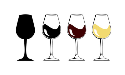 National wine day. The silhouette wineglass icon with white and red wine - Flat Vector illustration. Internet concept Goblet symbol