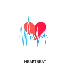 heartbeat logo vector icon isolated on white background, colorful brand sign & symbol for your business