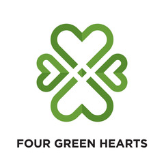 four green hearts logo isolated on white background , colorful vector icon, brand sign & symbol for your business