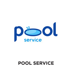 pool service logo isolated on white background , colorful vector icon, brand sign & symbol for your business