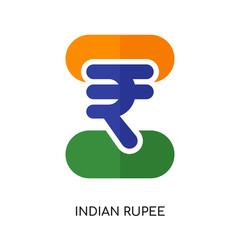 indian rupee logo isolated on white background , colorful vector icon, brand sign & symbol for your business