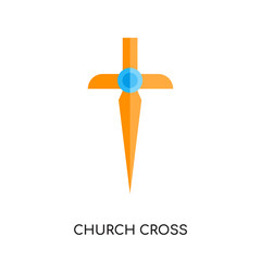 church cross logo vector icon isolated on white background, colorful brand sign & symbol for your business