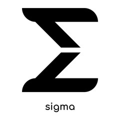 sigma symbol isolated on white background , black vector sign and symbols