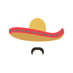Portrait of a Mexican man in sombrero. Man icon. Vector illustration isolated on white background.
